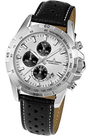 Jacques Lemans Unisex analog kvartsklocka med läderarmband 1–1826B