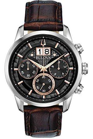 BULOVA Mäns analog kvarts klocka med läderarmband 96B311