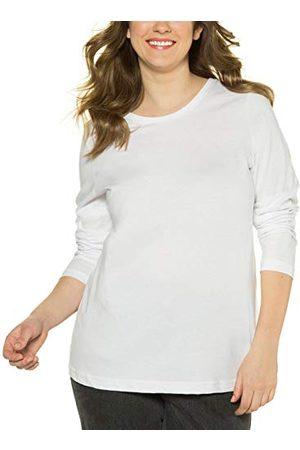 Ulla Popken Women's basic shirt, rund urringning snitt, smal, bomull långärmad T