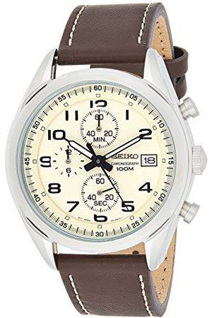 Seiko Mäns kronograf kvarts klocka med läderarmband SSB273P1