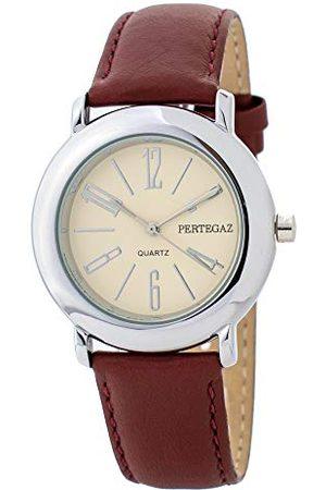 Pertegaz Kvartsklocka med läderrem P33006-R