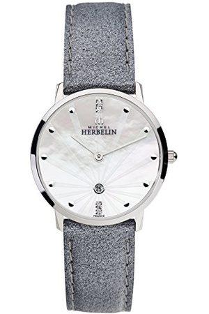 Michel Herbelin Unisex vuxna analog klocka med läderarmband 16915/59GR
