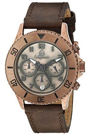 Burgmeister Herr kvartsklocka med urtavla analog display och brunt läderarmband BM532-955