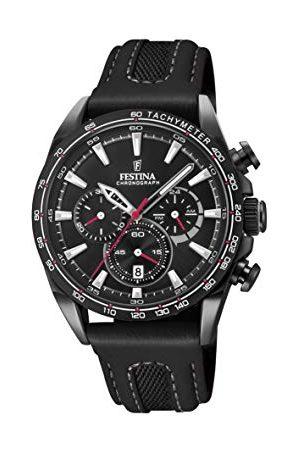 Festina Unisex vuxna kronograf kvarts smartklocka armbandsur med läderarmband F20351/3