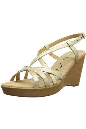 unisa Dam Rondel sandaler, eller lyxig metall platino38 EU