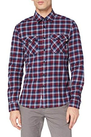 Hackett Herr Hkt Navy/Berry Plaid Shirt