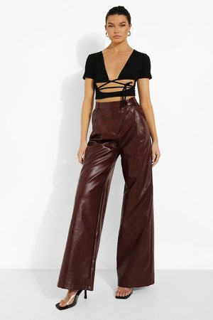 Boohoo Asymmetric Wide Leg Leather Look Trouser, Brown