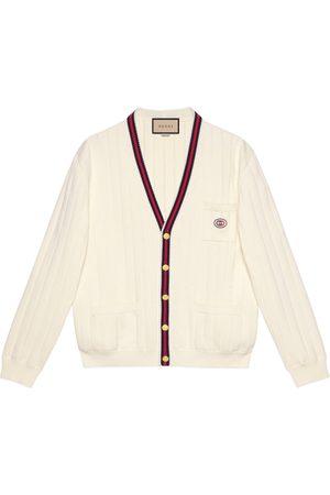 Gucci Man Stickade tröjor - Knit cotton V-neck cardigan with Web