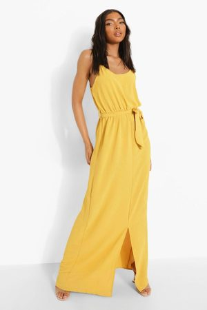 Boohoo Tall Linen Look Belted Split Maxi Dress, Yellow