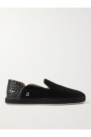 Christian Louboutin Collapsible-Heel Leather-Trimmed Suede Espadrilles