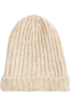 MM6 MAISON MARGIELA Kvinna Mössor - Logo Mohair Blend Ribbed Knit Beanie