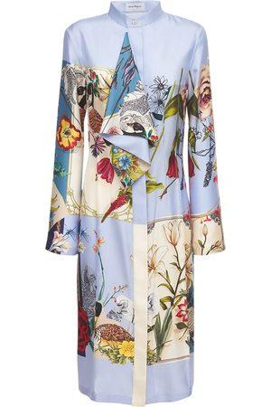 Salvatore Ferragamo Kvinna Mönstrade klänningar - Printed Patchwork Silk Midi Dress