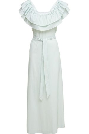 LUISA BECCARIA Cotton Blend Long Dress W/ Ruffles
