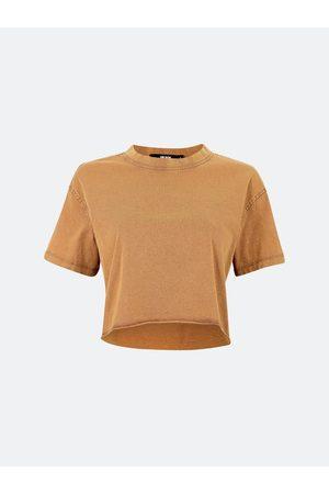 BIK BOK Kvinna T-shirts - Crop t-shirt i bomull - Cappucino