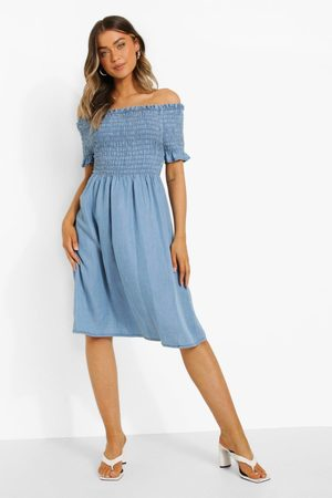 Boohoo Shirred Bardot Denim Dress