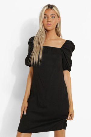 Boohoo Tall Puff Sleeve Denim Mini Dress, Black
