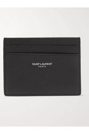Saint Laurent Logo-Embossed Pebble-Grain Leather Cardholder
