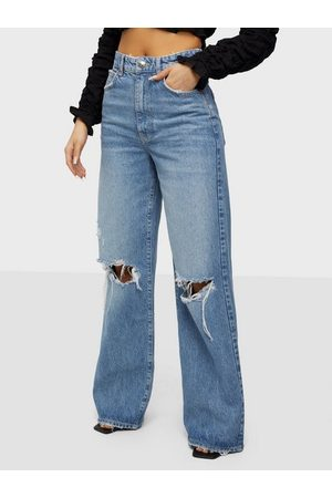 Gina Tricot Kvinna Bootcut - Idun Wide Jeans Wide leg jeans Blue