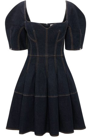 Alexander McQueen Kvinna Sommarklänningar - Cotton Denim Mini Dress