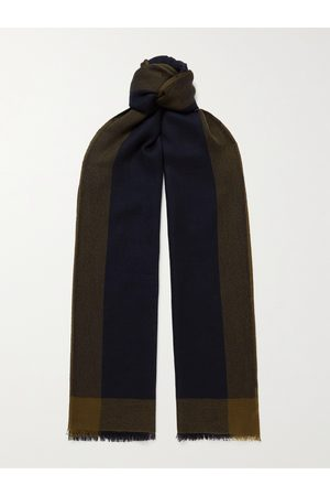 Loro Piana Man Sjalar - Fringed Checked Brushed-Cashmere Scarf