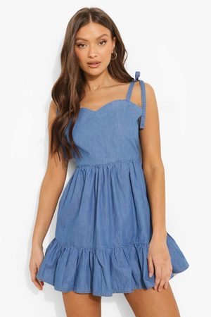 Boohoo Kvinna Sommarklänningar - Backless Tie Shoulder Chambray Mini Dress, Blue