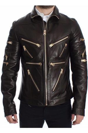 Dolce & Gabbana Man Skinnjackor - Lambskin Leather Zipper Jacket