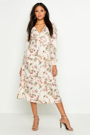 Boohoo Tall Floral Print Wrap Midi Dress, White