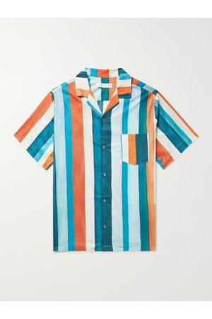 Desmond & Dempsey Cuban Camp-Collar Striped Cotton Pyjama Shirt