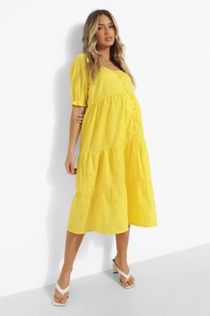 Boohoo Maternity Broderie Button Front Midi Dress, Yellow