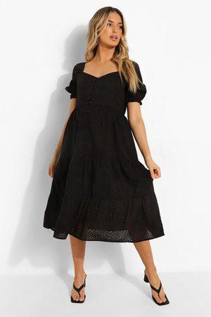 Boohoo Kvinna Midiklänningar - Maternity Broderie Button Front Midi Dress, Black