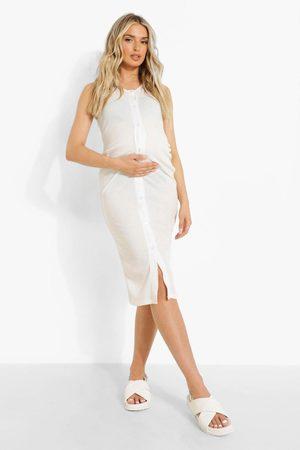 Boohoo Kvinna Midiklänningar - Maternity Sleeveless Button Rib Midi Dress, White