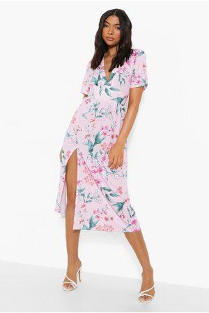 Boohoo Kvinna Midiklänningar - Tall Butterfly Floral Midi Dress, Pink