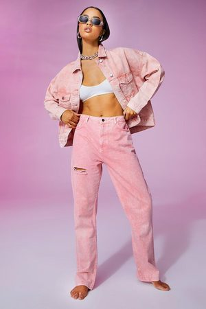 Boohoo Thigh Rip Pastel Wash Straight Leg Jean, Pink
