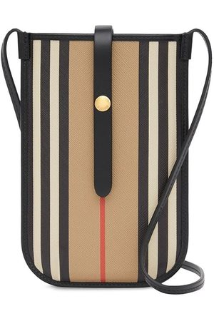 Burberry Icon Stripe E-canvas Anne telefonfodral med rem 18 cm x 12 cm