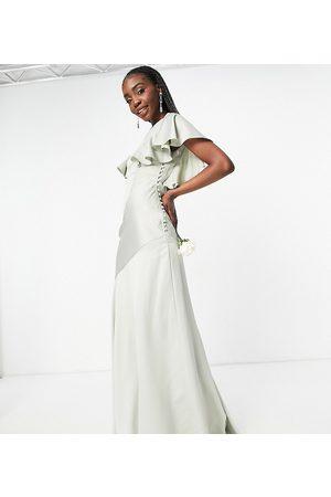 ASOS ASOS DESIGN Tall – Brudtärnor – Maxiklänning i satin med utsvängd ärm och knappar på sidan- /a