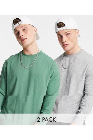 ASOS – Grön/gråmelerad lätt sweatshirt, 2-pack-Flera