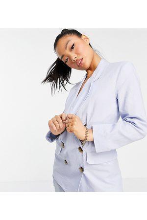ASOS ASOS DESIGN Petite – enkel dubbelknäppt kavaj i linne, del av kostym