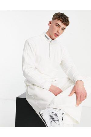 adidas – SPRT – Vit sweatshirt med 1/4-lång dragkedja-Vita