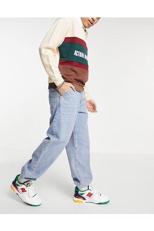 ASOS – Ljusblå baggy jeans i mjukismodell med resår i midjan