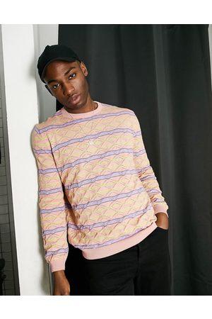 ASOS – pointelle-stickad tröja med ränder-Pink