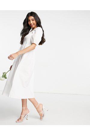 Y.A.S Bridal – midi-poplinklänning med smockad topp och puffärmar- /a