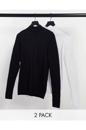 ASOS – Svart och vit tröja i bomull med halvpolokrage, 2-pack-Olika färger