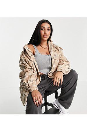 COLLUSION Plus – Rutig skjortjacka i ullimitation-Flera