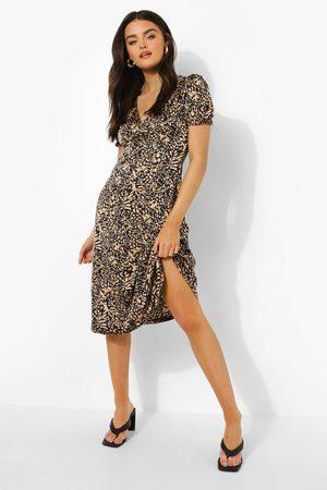 Boohoo Printed V Neck Midi Dress, Black