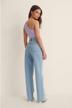 NA-KD Hög Midja Raka Jeans