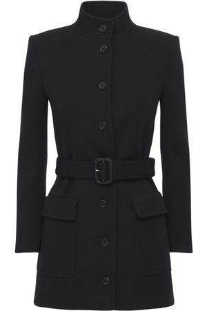 Saint Laurent Belted Wool Blend Jersey Coat