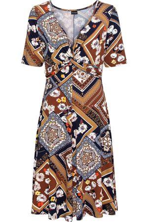 bonprix Kvinna Casual klänningar - Mönstrad jerseyklänning med drapering