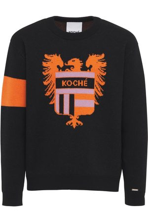 KOCHÉ Logo Crest Jacquard Wool Knit Sweater