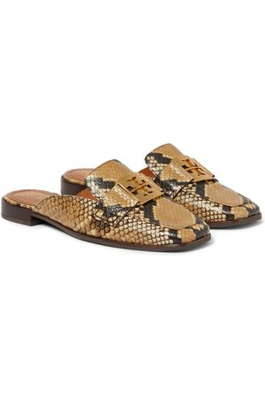 Tory Burch Georgia snake-effect leather slippers