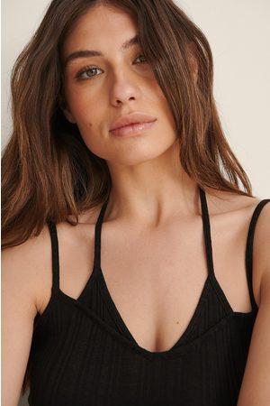 NA-KD Kvinna Halternecktoppar - Recycled Jersey-linne Med Halterneck